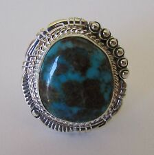 Native American Navajo Gem Grade Bisbee Turquoise Ring Size 10 Bennie Ration