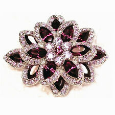 Diamante Yellow Gold & Purple Flower Bouquet Party Prom Wedding Brooch Pin BR252