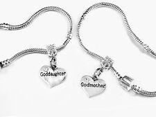 godmother goddaughter  European bracelet set   2 bracelets   godparent