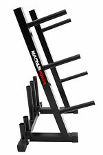 """1"""" Standard Weight Disc Barbell Stand Plate Home Gym Storage Rack 5 Pole Holders"""
