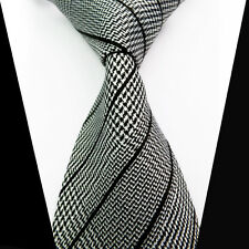 New Classic Black White Striped 100%Silk Jacquard Woven Necktie Men's Tie