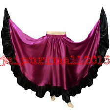 360 Satin Full Circle Skirt Swing Belly Dance Gypsy Flamenco Ruffle Tribal Jupe