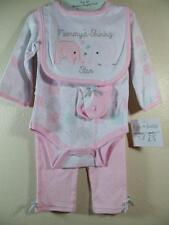 New Kyle & Deena Girl's 4 Pc Pink ELEPHANT Set  ~ Bodysuit  Pants Bib Socks 6-9M