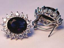 Cubic Zirconia Blue Sapphire White Gold Plated Pierced Earrings