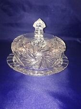 American Brilliant Crystal Glass Dome Covered Butter/Cheese Dish