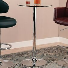Coaster 120341 - Glass Top Round Bar Table with Chrome Base - Chrome