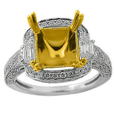 UNIQUE SEMI MOUNT FOR CUSHION OR RADIANT DIAMOND HALO ENGAGEMENT RING 18K GOLD