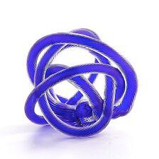"""New 6"""" Hand Blown Art Glass Knot Sculpture Figurine Abstract Blue"""