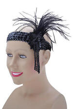 Black Sequin Feather Headband Flapper Charleston 1920's Fancy Dress