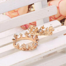 2 Girl Princess Rose Gold Plated Crystal Rhinestone Crown Ring Jewelry Gift