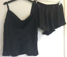 Victoria's secret soie noir col boule caraco & shorts lingerie set medium
