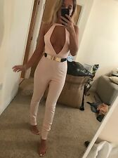 Size 8 Miss Pap Pink Low Cut Choker Cut Out Bodycon Tight Jumpsuit Playsuit BNWT