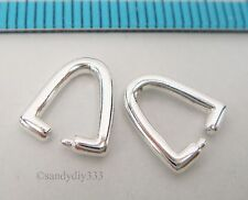 2x STERLING SILVER BRIGHT PENDANT PINCH BAIL CLASP 9.8mm N803