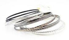 New 12 Piece Silver Black & Gunmetal Colored Bangle Bracelet Set NWT #B1185