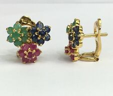 14k Solid Gold Three Flowers Omega Back Earrings, Mix Emerald Sapphire Ruby 4TCW
