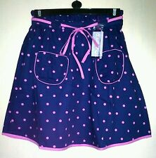 TAYBERRY NAVY BLUE PINK POLKA DOT LINED VINTAGE RETRO KITSCH SKIRT SIZE 12-18