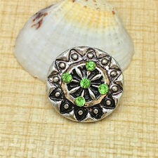NEW Green Rhinestone Round Charm Chunk Snap Button fit for Noosa Bracelet IOP87
