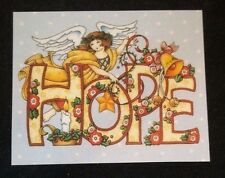 "Fridge magnet w/Mary Engelbreit Art ""HOPE"" Angel with star and bell"
