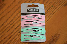 JOB LOT! Babyliss10 x 4 Pack of Pale Pink & Pale Blue Snap Slide Hair Clips Pins