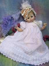 Vintage BABY DOLL clothes GOWN dress WHITE cotton EYELET embroidered LACE 20-26""