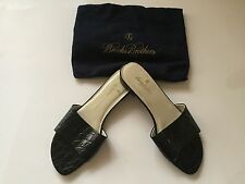 BROOKS BROTHERS NEW WOMAN LEATHER BLACK SLIP ON SHOES Size 7M MADE IN ITALY