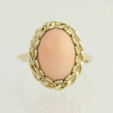 Coral Ring - 14k Yellow Gold Solitaire Women's Size 8 1/2