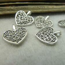 10pcs tibetan silver Heart Shaped loose Spacer Flower Beads 15mm DIY Findings