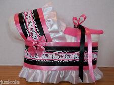 KITTY GIRL DIAPER BASSINET BABY SHOWER TABLE DECORATION PINK BLACK ZEBRA