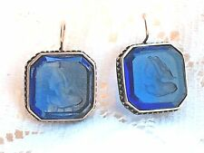 EXTASIA EARRINGS MYTHOS SAPPHIRE BLUE OCTAGON INTAGLIO FRENCH HOOK  NEW! $134