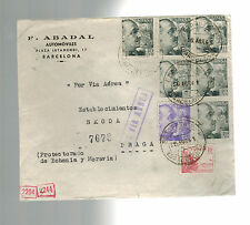 1941 Barcelona Spain Dual Censored Cover Skoda Arms Works Czechoslovakia Germany