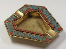 Vintage Antique Brass Turquoise Coral Gemstone Inlay Cigarette Ashtray Nepal
