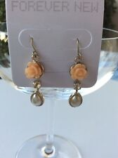 Forever New Earrings Light Peach Rose Pearl Diamanté Gold Vintage Look New