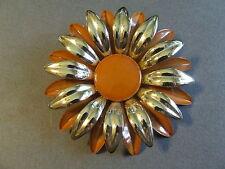 VINTAGE RETRO MID CENTURY ENAMEL SILVER COPPER DAISEY FLOWER PIN BROOCH (M)