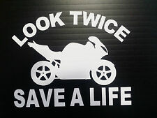 Look Twice Save A Life Bumper Motorcycle Decals Stickers  5.5X6.9 Parts Fairings