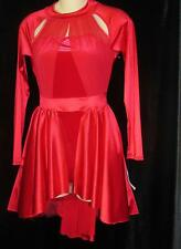 Red Velvet Peplum High Low Sheer Jazz Skate Curtain Call Costume