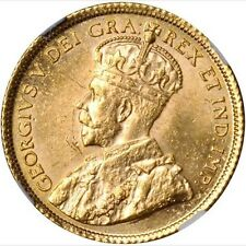 CANADA  GEORGE V  1913 5 DOLLAR GOLD COIN, UNCIRCULATED, NGC CERTIFIED MS62