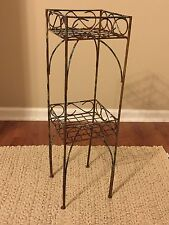 Vintage Shabby French 2-Tier Tall Leg Metal Plant Stand Holder Nice Aged Patina