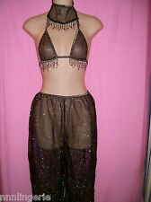 Tease Bodywear Lingerie Harem Belly Dancer 3 Piece Roleplay Costume: One Size