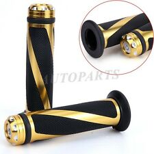 """UNIVERSAL MOTORCYCLE RUBBER GEL HAND GRIPS FOR 7/8"""" HANDLEBAR SPORTS BIKES GOLD"""