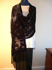 Velvet devore scarf/shawl  Black/grey/silver floral design on black    NEW