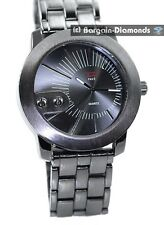 mens big heavy gunmetal clubbing watch black dial link bracelet designer man's