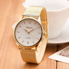 Classic Watch Women Gold Geneva Quartz Watch Stainless Steel Wrist Watch White
