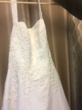davids' bridal wedding gown: satin gown with beaded lace style