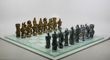 KING ARTHUR FANTASY CHESS PIECES AND GLASS BOARD DUNGEONS DRAGONS KNIGHTS