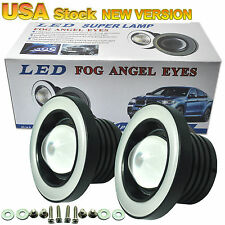 2x 2.5 Inch Car Projector LED Fog Light COB Blue Halo Angel Eye Ring Bulb Lamps