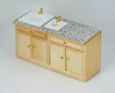 Dolls House Furniture: Light Wood Kitchen Double Sink Unit : 12th scale