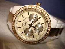 Ladies this FOSSIL Watch is Beautiful,! ES-2805, White Resin/Gold SS Band, EUC!