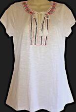 NWT Women's Wrangler White Embroidered Short Sleeve Tassel Tie Shirt Medium NEW