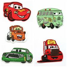 5pcs Cartoon Cars Fabric Embroidered Iron/Sew On Patch Appliqué Embroidery Kids