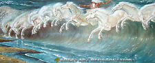 """The Horses of Neptune"", Walter Crane Reproduction in Oil, 48""x19"""
